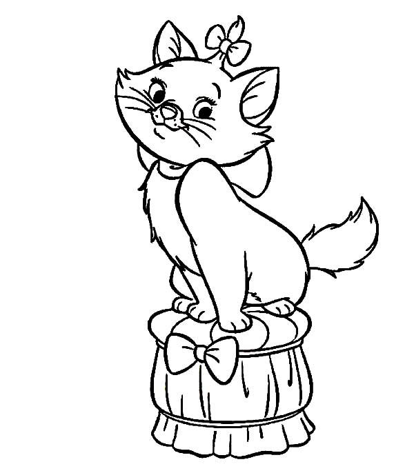 The Aristocats Marie Standing On Chair Coloring Pages