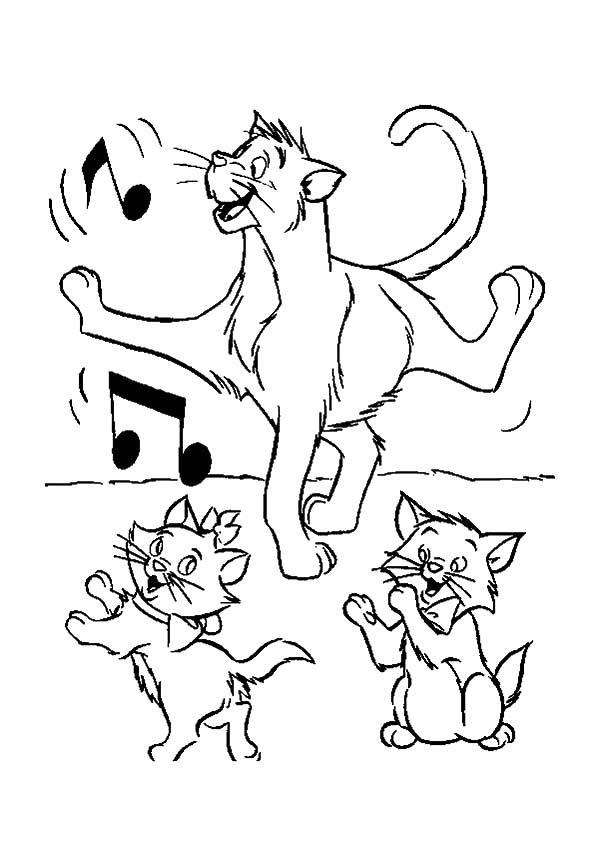 The Aristocats Thomas Dancing Class With Toulouse And Marie Coloring Pages