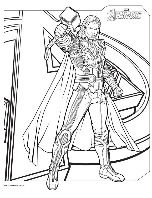 The Avengers Coloring Pages Thor