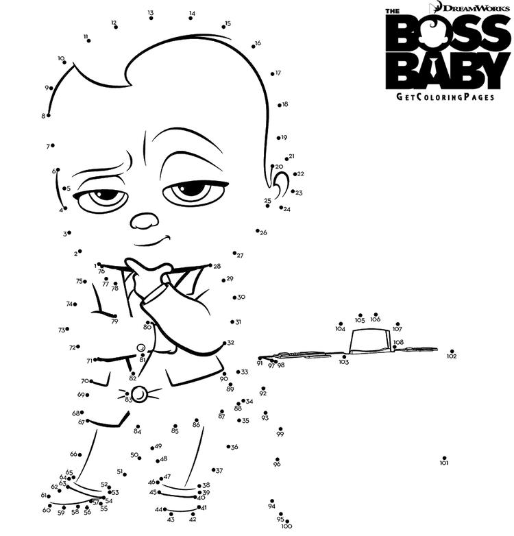 The Boss Baby Character Connecting The Dots Coloring Pages