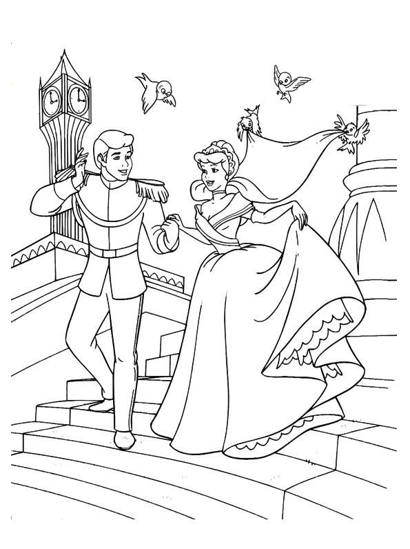 The Cinderella And The Prince Down The Stairs Coloring Pages