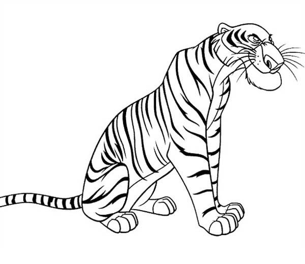 The Ferocious Shere Khan From Jungle Book Coloring Pages