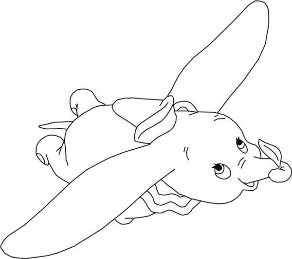The Flying Dumbo The Elephant Coloring Pages - Coloring Ideas