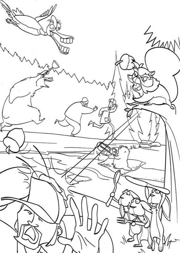 The Hunter Running Away In Open Season Coloring Pages