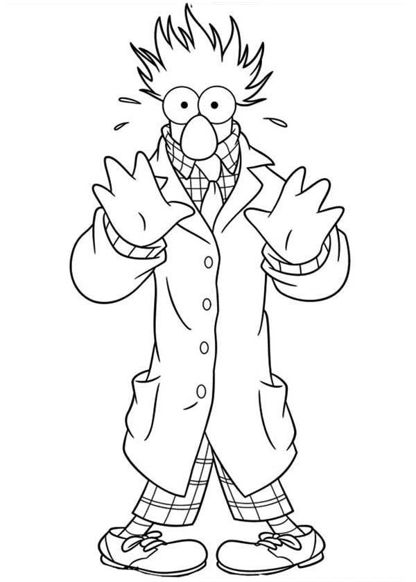 The Muppets Beaker Try To Hide Behind Coat Coloring Pages