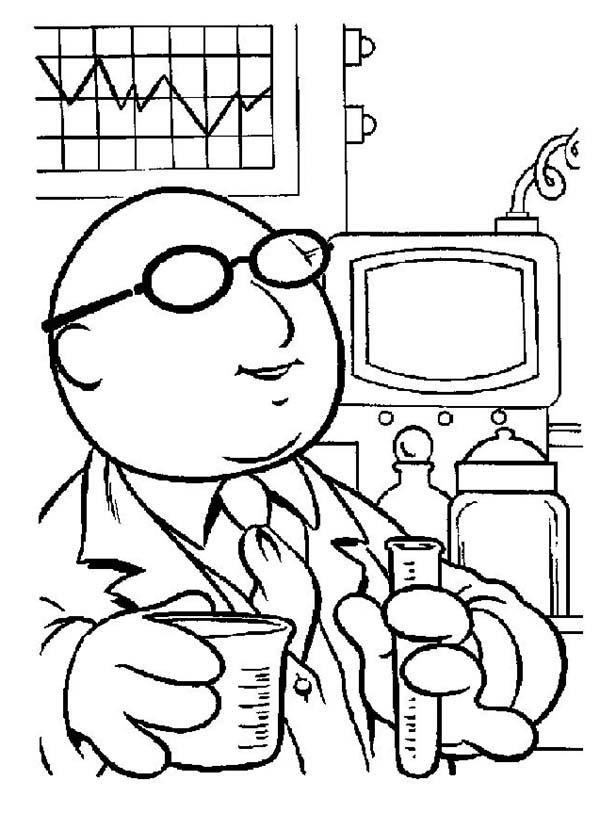 The Muppets Dr Bunsen Honeydew Working In His Lab Coloring Pages