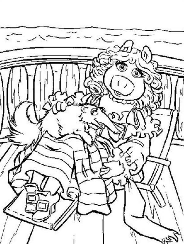The Muppets Miss Piggy Laying With Her Pet Coloring Pages