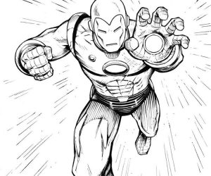 The power of iron man coloring picture