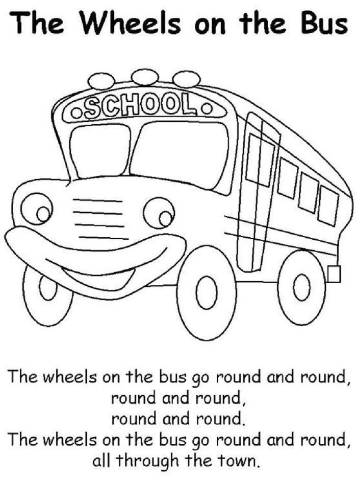 The Wheels On The Bus Coloring Pages