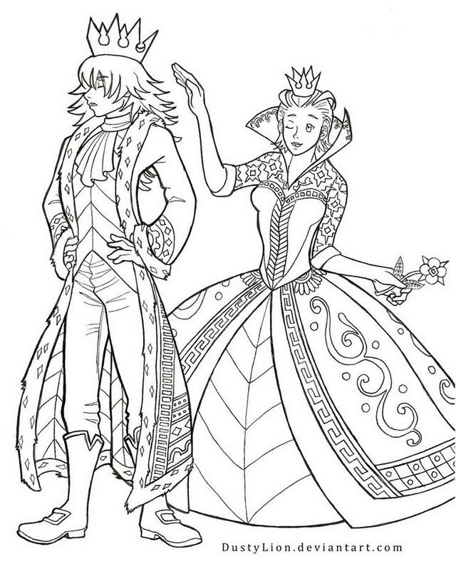 The King And Queen Of Hearts Coloring Sheet
