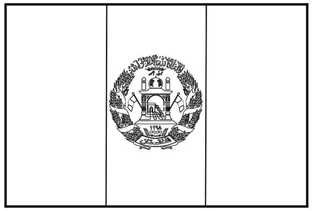 The National Flag Of Afghanistan Coloring Page