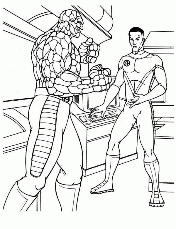 Thing And Mister Fantastic Discussion In Fantastic Four Coloring Pages