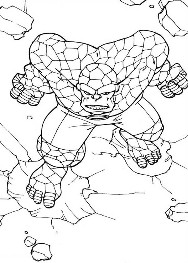 Thing Going Berserk In Fantastic Four Coloring Pages