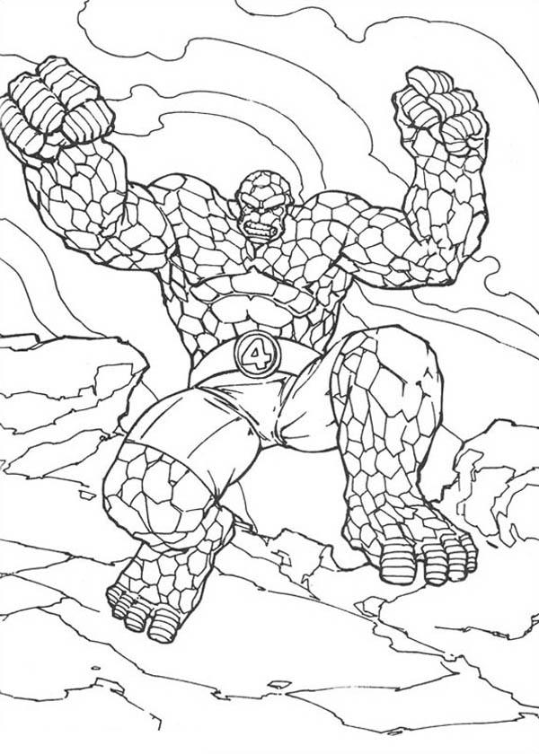 Thing Jump High In Fantastic Four Coloring Pages