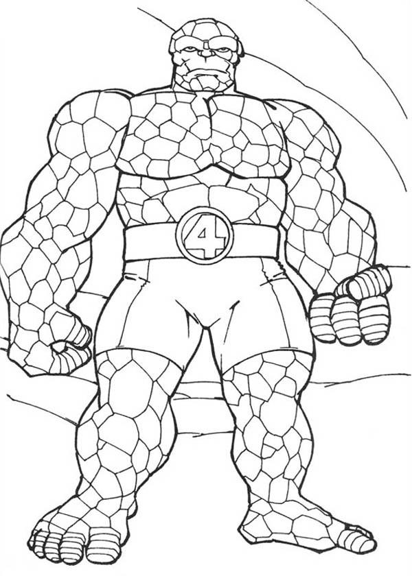 Thing Standing Tall In Fantastic Four Coloring Pages
