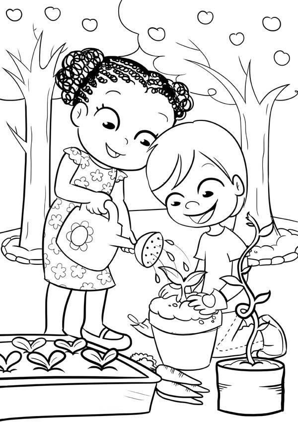 This Two Kids Is Like Gardening Coloring Pages