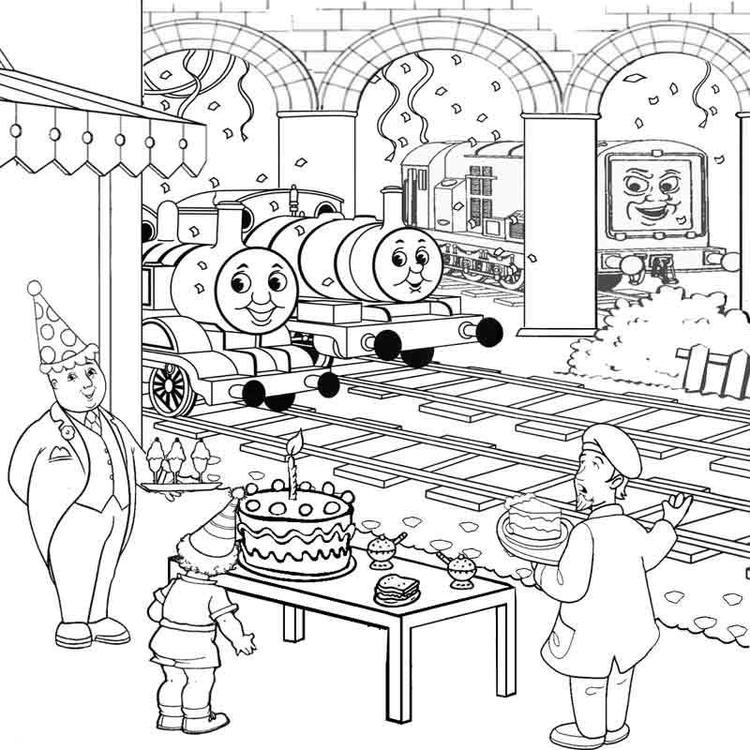 Thomas The Train Coloring Pages Birthday
