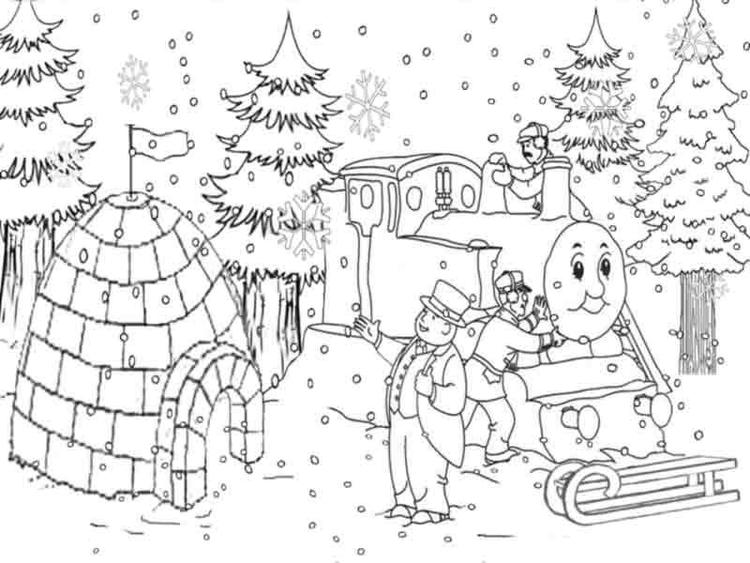 Thomas The Train Coloring Pages Christmas Snow