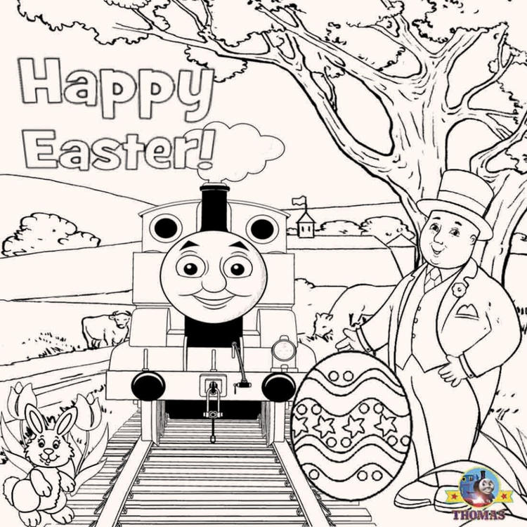 Thomas The Train Easter Coloring Pages For Kids