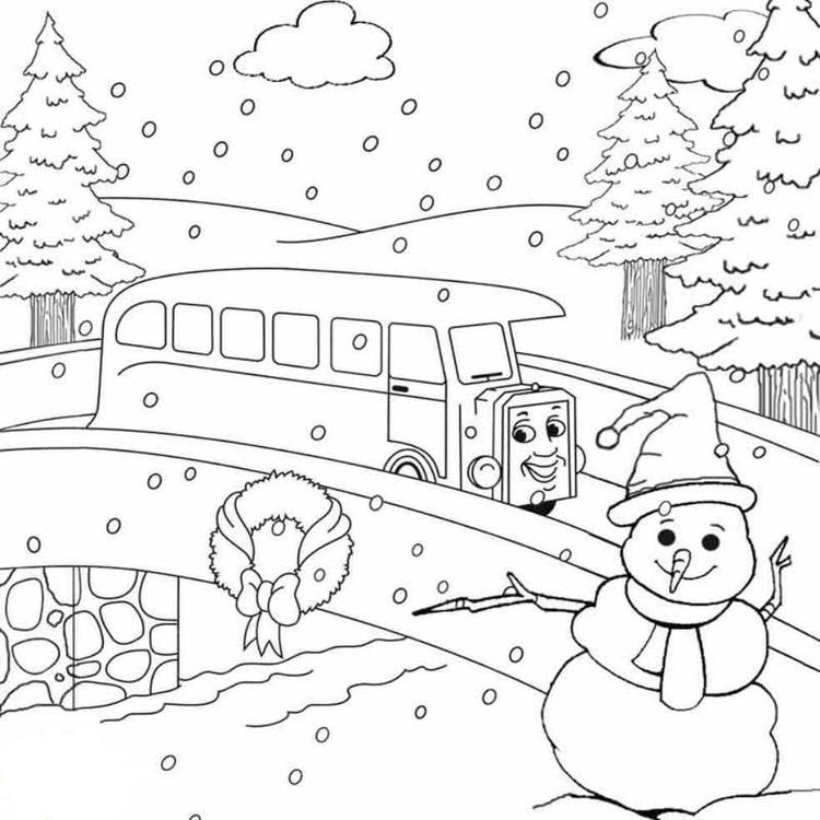 Thomas The Train Winter Coloring Pages For Kids Free