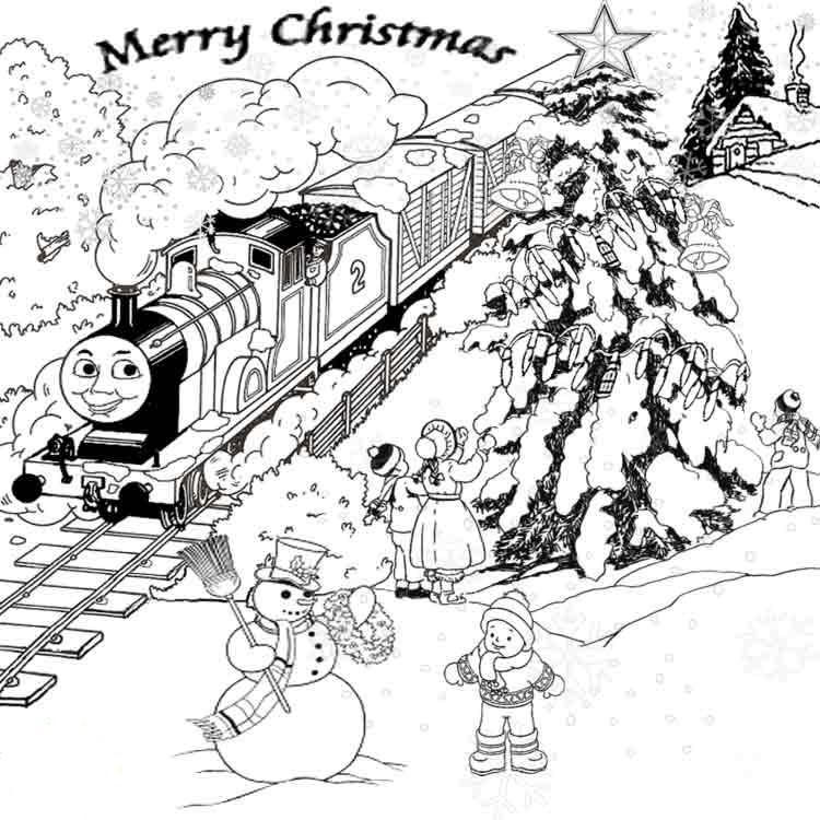 Thomas The Train Winter Coloring Pages For Kids