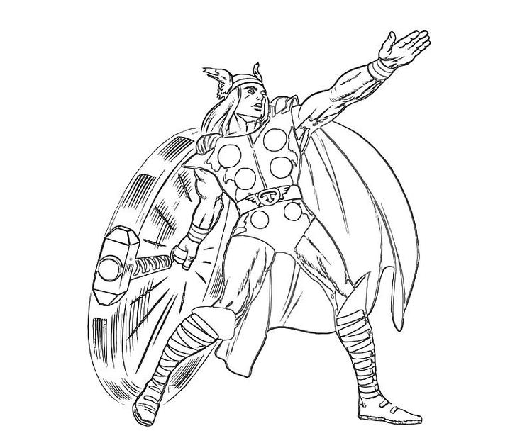 Thor Coloring Pages Swinging His Hammer