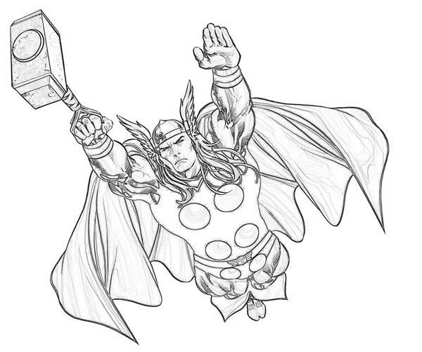 Thor Flying Coloring Pages For Kids