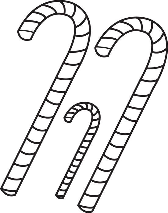 Three Candy Cane Coloring Pages