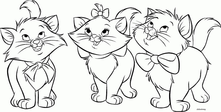 Three Cute Cat Coloring Pages Free