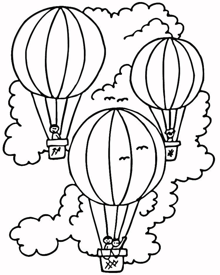 Three Hot Air Balloon Coloring Pages