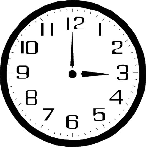 Three Oclock On Analog Clock Coloring Pages