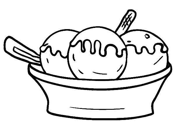 Three Scoop Of Ice Cream Bowl Coloring Pages