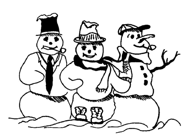 Three Snowman Winter Coloring Pages