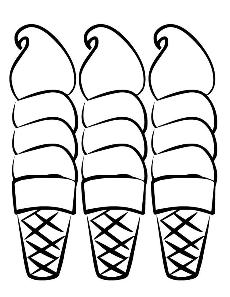 Three Sweet Ice Cream Coloring Pages