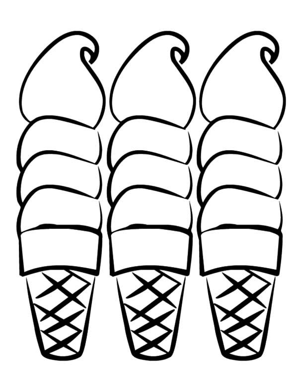 Three Sweet Ice Cream Cone Coloring Pages