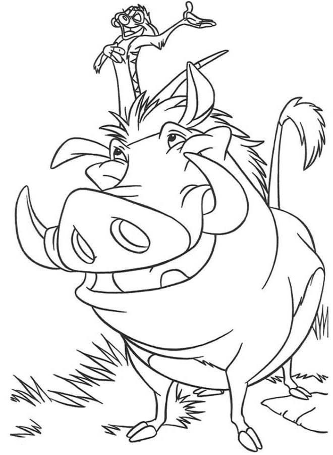 Timon And Pumbaa The Lion King Coloring Page