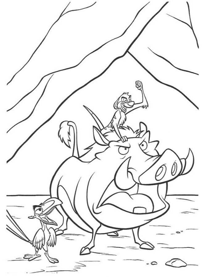 Timon Pumbaa And Zazu The Lion King Coloring Page