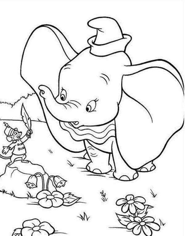Timothy Talking To Dumbo The Elephant Coloring Pages