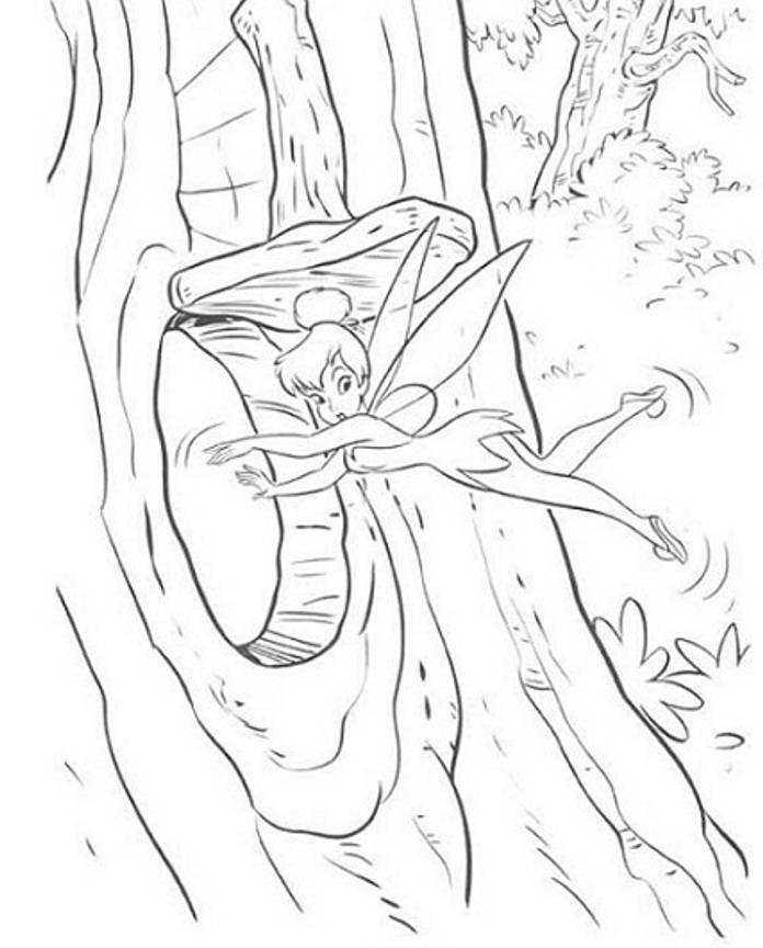 Tinkerbell Fly To Hide Coloring Page