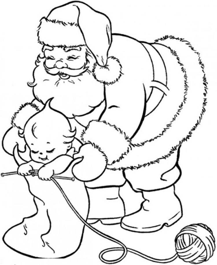 Toddler And Santa Coloring Page