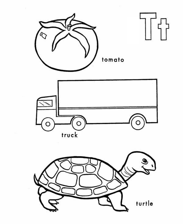 Tomato Truck And Turtle In Learning Letter T Coloring Page