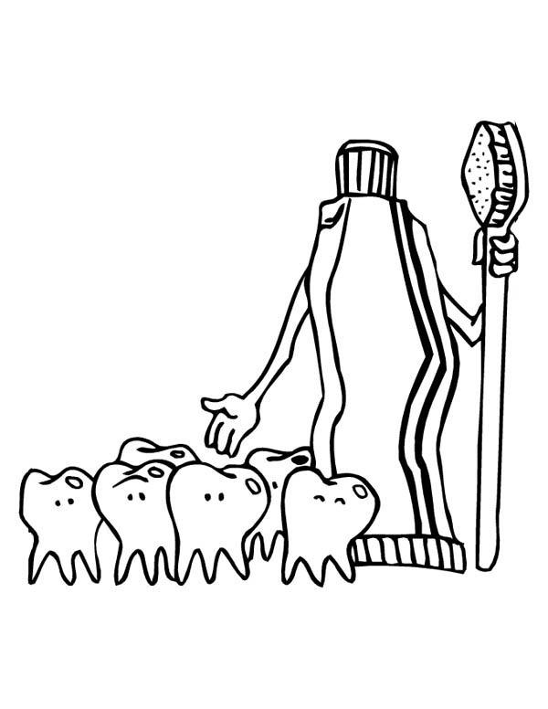 Tooth Paste And Group Of Teeth At Dentist Coloring Pages