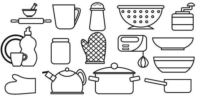 Top Kitchen Set Coloring Page