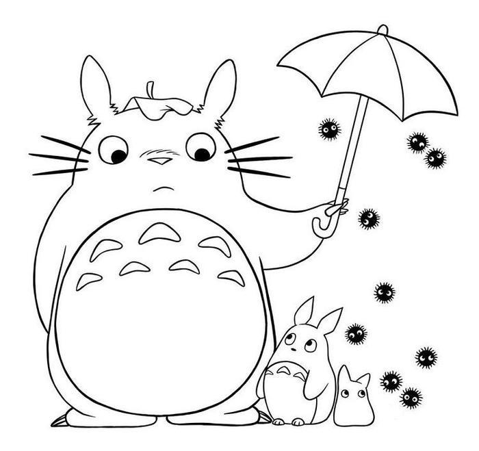 Totoro And Umbrella Coloring Pages