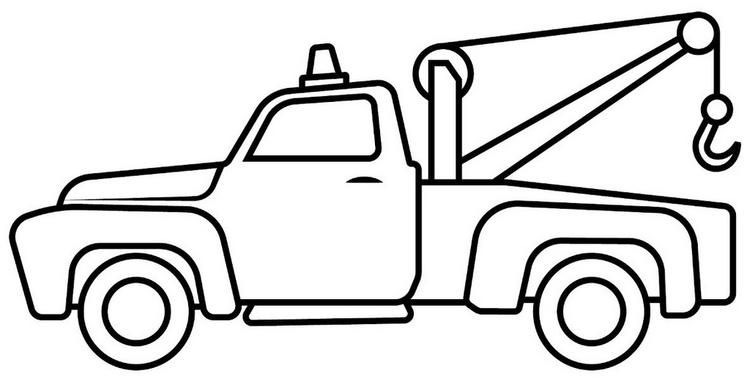 Tow Truck Cartoon Drawing Lineart And Coloring Sheet