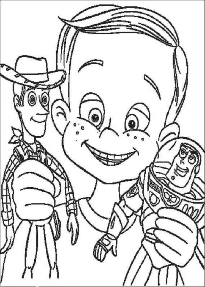 Toy Story Andy Buzz Lighyear And Woody Sheriff Coloring Pages