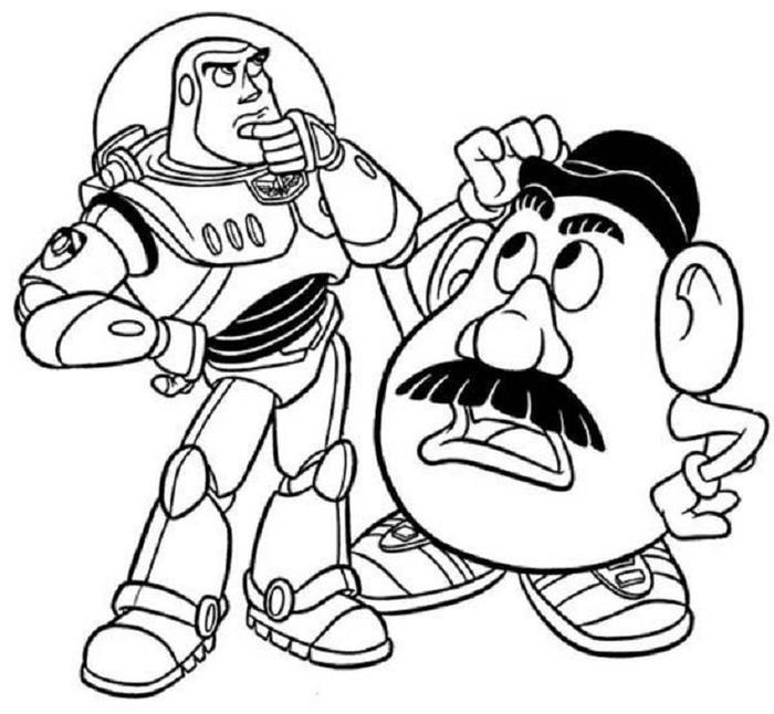 Toy Story Buzz And Mr.potato Head Coloring Pages