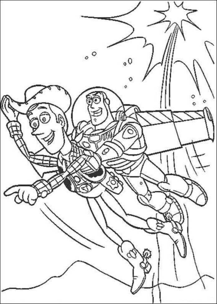 Toy Story Buzz And Woody Flying Coloring Page