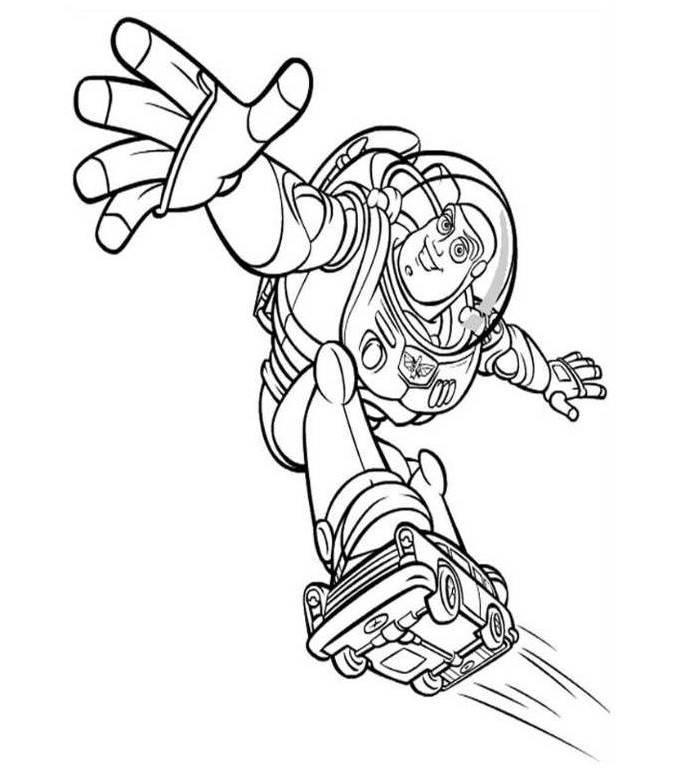 Toy Story Buzz Lightyear Skating Coloring Pages
