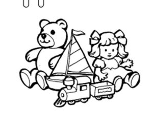 Toys alphabet coloring page
